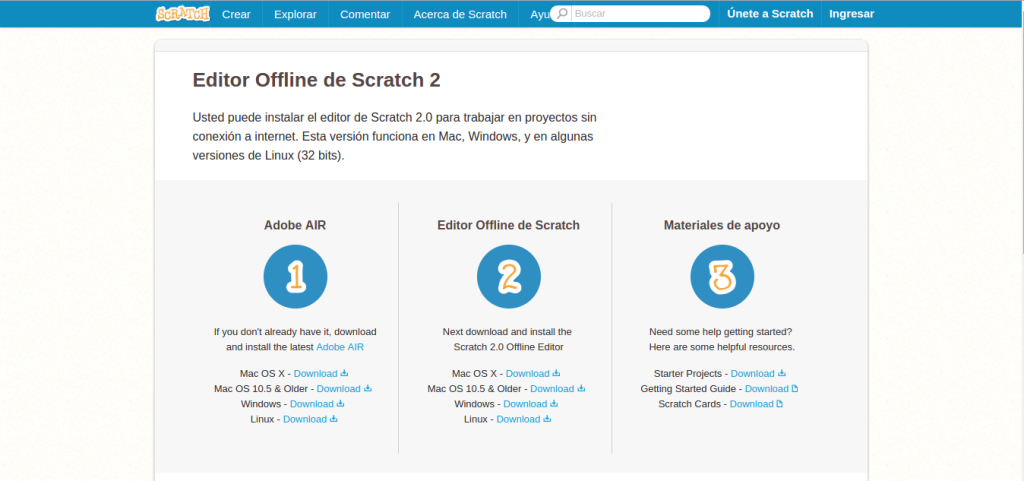 Página de descarga Scratch 2.0